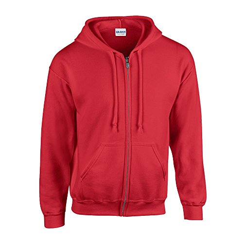Gildan - Kapuzen Sweat-Jacke 'Heavyweight Full Zip' XXL,Red - Roten Pullover Warme Jacke