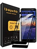 UniqueMe Compatible with Nokia 3.1 Schutzfolie, [2 Stück] Nokia 3.1 Panzerglas, Full Cover Gehärtetem Glas Hartglas Bildschirmschutzfolie mit Lebenslange Ersatzgarantie - Schwarz