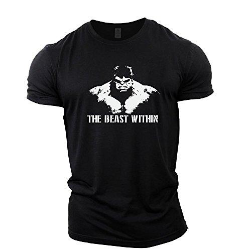 GYMTIER Bodybuilding-T-Shirt der Männer - Beast Within - Fitness-Trainingsoberteil (Beast Black Shirt)
