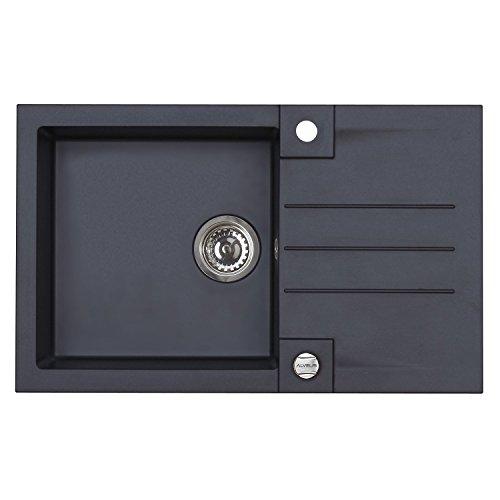 ALVEUS Einbauspüle ROCK 130 | Algranit carbon-schwarz | 78 x 48 cm | universal | 1 Stück