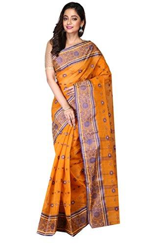 Madhushree Handloom Cotton Tant Saree, Traditional Bengali Wear (Orange)