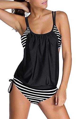 Azue Damen Zweiteilig Tankini Set Bauchweg Bademode 2 Teile Badeanzug Sportlich Bikini Set Schwarz und Weiß Streifen L (EU 38-40) (Trägerlos Swimdress)