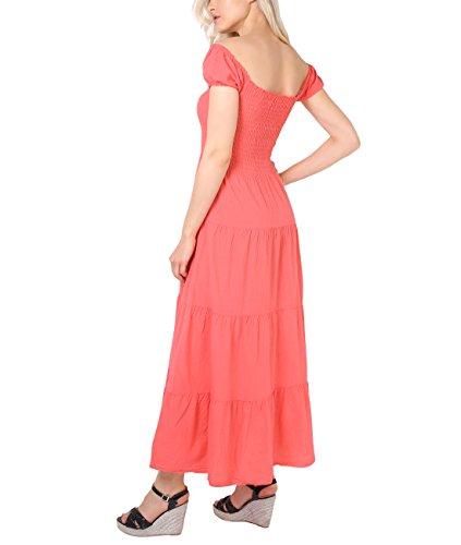 KRISP® Damen Boho Maxi Kleid Einfarbig Bodenlang Koralle (9263)