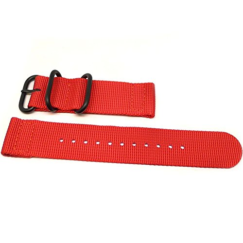 DaLuca Two-piece Ballistic Nylon NATO watch strap - red (PVD buckle): 24 mm