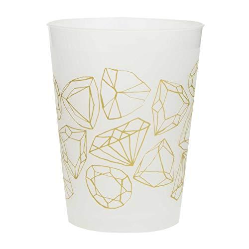 Unique Party 63672 63672 - Vasos de plástico para despedida de soltera con diamantes dorados, 8 unidades