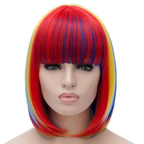 HongHu Gradient Color Peluca recta corta con Neat Bangs Anime Cosplay Pelucas de fiesta de pelo completo para fiesta de cosplay o uso diario Peluca multicolor