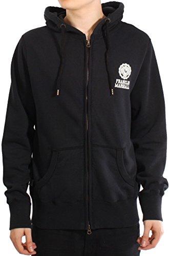 Franklin-Marshall-Small-Logo-Print-Zip-Front-Sweat-Hoodie-Black