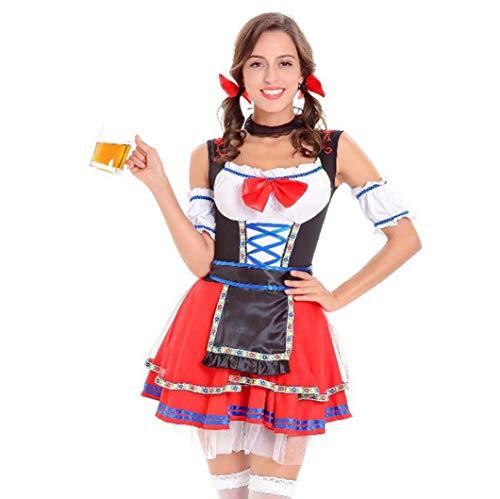 Diadia Dirndl 4-teilig Diadia Beer Service Deutsches Festival Kleidung Liebhaber Bar Kellner Bayerisches Bier Mädchen Oktoberfest Kostüm Lady Tracht, Haarband-Bogen-Kragen-Stulpen ()