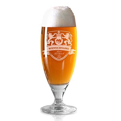 Herz & Heimu00ae Pilsglas mit Bierwappen inkl. Gratis Gravur des eigenen Namens und Jahres zum Vatertag oder Weihnachten Löwen