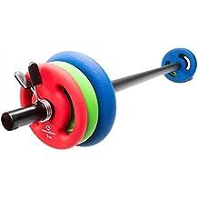 Barra larga de musculación con acolchado, con cierre de estrella, incluye discos (pesas