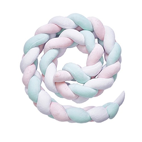 Luchild Bettumrandung Babybett Länge 2m Baby Nestchen Bettumrandung Weben Geflochtene Stoßfänger Dekoration für Krippe Kinderbett (Pink...