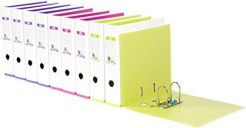 ELBA 100023638 Ordner myColour 10er Pack Kunststoffbezug außen und innen 8 cm breit DIN A4 zweifarbig weiß sortiert, weiß/violett, weiß/pink und weiß/hellgrün - 2