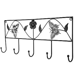 Miadomodo appendiabiti da parete muro in ferro battuto con for Panchina ferro battuto amazon