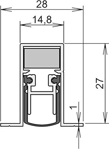 Athmer Türdichtungen Schall-Ex DUO® L-15/28 OS | Länge (mm): 833