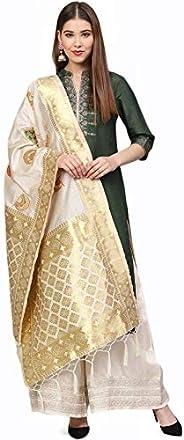 Sutram Women's Banarasi Beige Silk Dup
