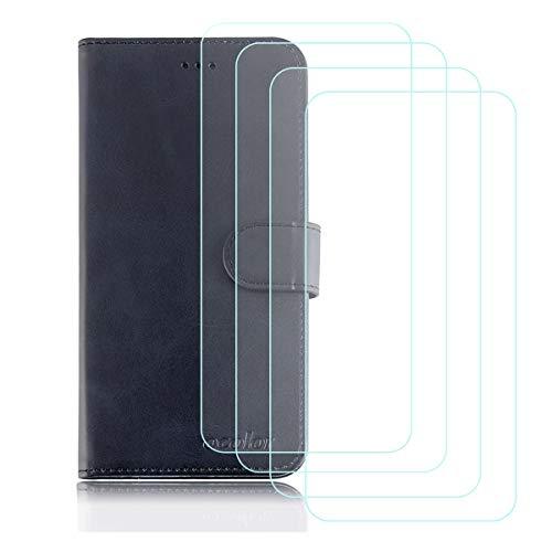 YZKJ Cover für Ulefone Gemini Pro/T1 Hülle, Flip PU Ledertasche Handyhülle Wallet Schutzhülle Case mit Card Slot & Ständer + [4 Stück] Panzerglas Schutzfolie für Ulefone Gemini Pro/T1 (5.5