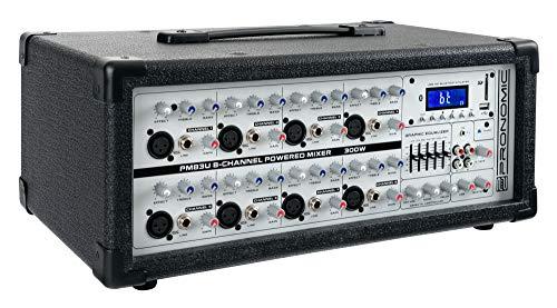 Pronomic PM83U 8-Kanal Powermischer mit USB/SD/Bluetooth MP3-Player (Live Mischpult mit integriertem Verstärker, Digitales Effektgerät, 300W) -