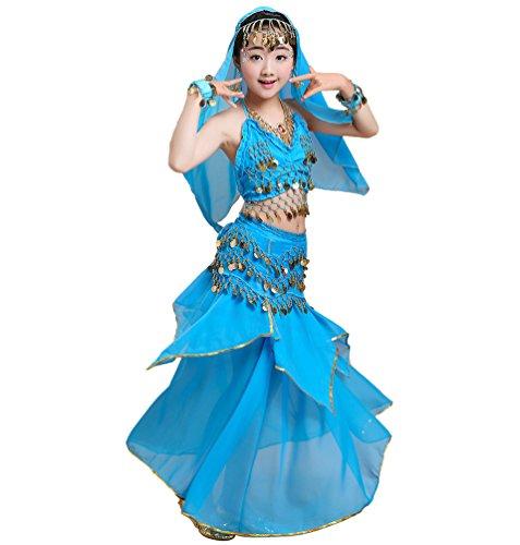 Anguang Mädchen Bauchtanz Rock Set Kinder Halloween Tanz Kostüm Blauer See#1 S