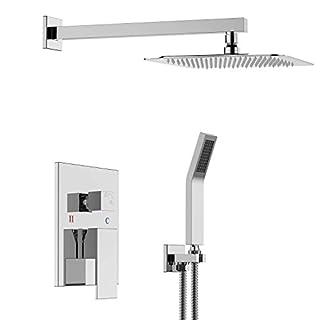S R SUNRISE Bathroom Luxury Rain Mixer Shower Combo Set Wall Mounted Rainfall Shower Head System Polished Chrome SRSS-5043