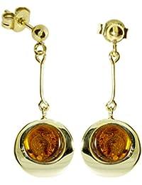 In Collections - 10163352100 - Boucles d'Oreilles Pendantes Femme - Or jaune 333/1000 (8 cts) 4.5 Gr - ambre