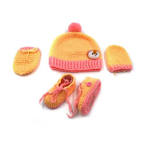 Magic Needles Handgefertigtes Strickset für Babyschuhe, Babyschuhe, Fäustlinge und Mütze Gr. 6-12 Monate, Unisex Yellow Peach Solid - Gelb Baby Booties