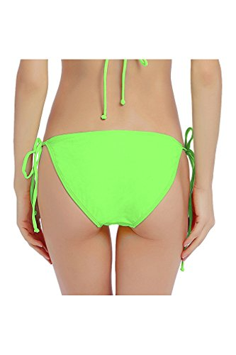 Micosuza Bikini-Hose Damen Seitlich Gebunden Bikinislip Bikini Slip String Side Tie Bikini Bottom Grün-1