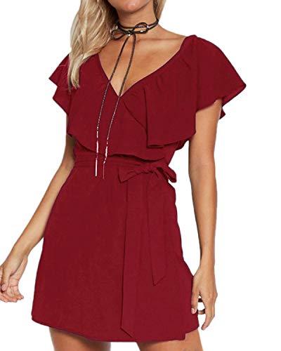 YOINS Kleid Damen Sommer Kurz V-Ausschnitt Schulterfrei Kleider Elegant Strandkleider Minikleid Partykleider - Elegante Sexy Kleider