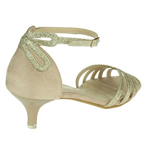 Femmes Dames Sparkly Sangle Open Toe Deux parties Kitten-Heel Soir Mariage Fête De mariée Sandales Chaussures Taille Or