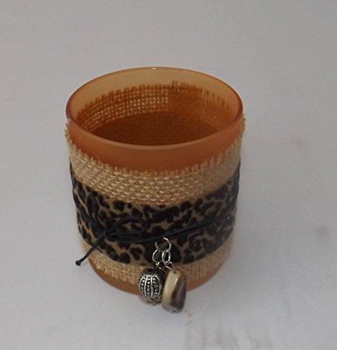 Preisvergleich Produktbild Gilde Handwerk Teelichtleuchter Afrika Orange Glas Textil 40524 Dekoration Geschenkidee