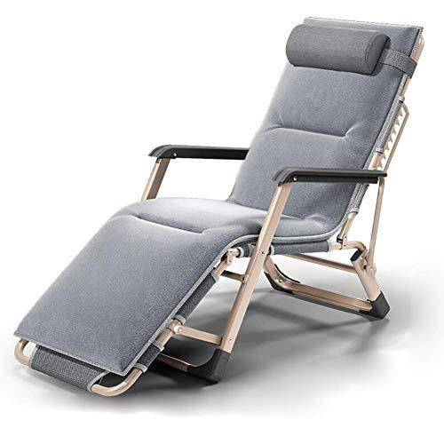CHOME Garten-Klappstühle, Faltbarer Liegestuhl-graue Patio-Stühle, die Strand-Rasen-kampierenden Hauptklubsessel im Freien stützen,GrayWithCushion