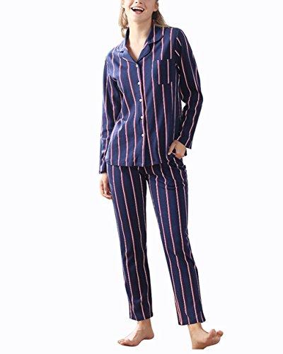 ZFANG Loungewear Nachtwäsche Nachtwäsche Tops & Bottoms Streifen Baumwolle Langarm Elegant Casual Pyjama Set , 1 , l (Passform Bequeme Stück Schlafanzug 2)