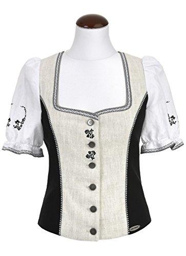 Michaelax-Fashion-Trade - Chemisier - Uni - Manches Courtes - Femme Natur/Schwarz/Weiß (9392)