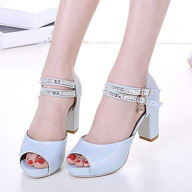 RUGAI-UE Sommer Mode Frauen Sandalen Schuhe Casual PU Komfort Fersen, Grün, UNS 6,5-7/EU 37/ UK 4,5-5/CN 37 Blue