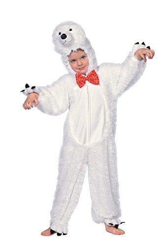 -Bär Kinder weiß Voll-Plüsch mit Fliege rot 128 (Voller Bär Kostüm)
