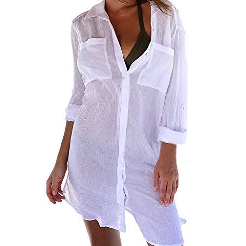 Junjie Frauen Strand vertuschen Button-Down-Tasche Shirts Sonnenschutz Bikini transparente Badeanzug Bluse grün, blau, schwarz, weiß -