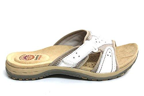 Earth Spirit pour Femme à bout ouvert en cuir Confort d'été Sandales Taille 3–8 Blanc - blanc