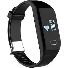 Padgene Fitness Tracker con monitor de frecuencia cardíaca + Monitor de sueño + podómetro, actividad ajuste reloj con pantalla táctil, Bluetooth 4.0Smart pulsera para iPhone Samsung LG Nexus Sony HTC ONEPLUS, deportes Ejercicio Entrenamiento SmartBand, 0.29 pounds, color negro