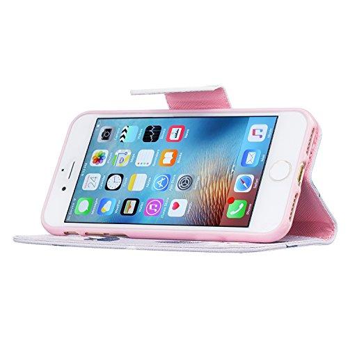 """MOONCASE iPhone 7 Coque, [Black Fleur] Modèle Housse Pochette en Cuir Etui à rabat portefeuille [Porte-cartes] TPU Case avec Béquille pour Apple iPhone 7 4.7"""" Rosa Fleur"""