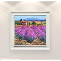 Lavender Landscape Painting on Canvas Original Hand Painted French Country Home Decor Wall Art Gift
