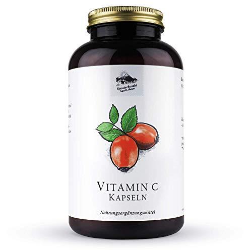 Vitamin C Kapseln • 480mg natürliches Vitamin C • naturbelassen aus Hagebutten • 300 Kapseln (5 Monatsvorrat) • Deutsche Premium Qualität • Kräuterhandel Sankt Anton -
