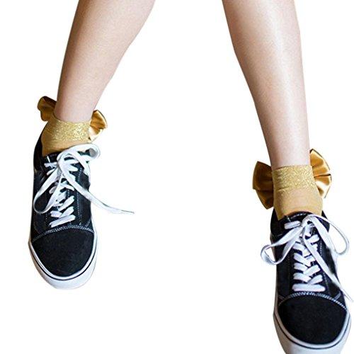 Gold-kinder Socken (AMUSTER.DAN Netzstrumpfhose Netz Strumpfhose Kurze Strümpfe Schöne Socken Hohe Socken Mädchen Socken (Gold))