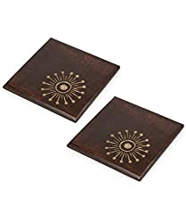 Style My Way Wooden Carving Handmade Sheesham Wood Trivets Set of 2