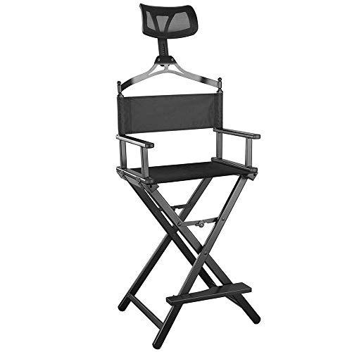 GWJ Chefsessel mit Kopfstütze - Tragbarer Maskenbildner- / Manager-Stuhl für bessere Erholung - - Regisseur Stuhl