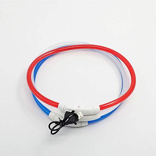 HN LED Hund Hund Rundrohr Halsband USB Lade Licht Teddy Kleiner Hund Mittleren Großen Hundehalsband,Red (Und Kleine Mittlere Hundehalsband)