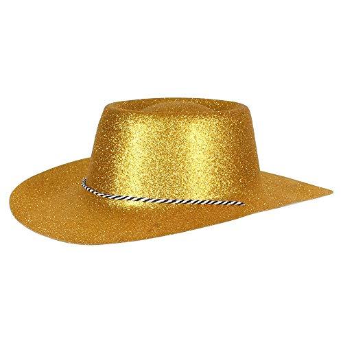 Ciffre Texas Westernhut Party Hut Sheriff Fasching Masken Perücke Maske - Cowboyhut Glitzer Look Gold