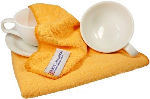 2x Micro Sensation Geschirrtuch Microfaser High Tech Material Handtuch 65 x 45 Spültuch (Orange)