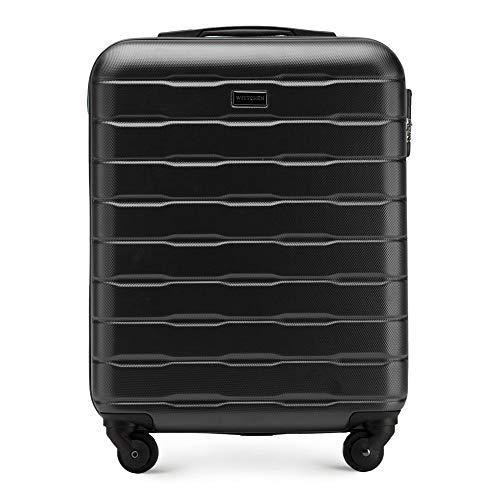Stabiler Koffer-Trolley Handgepäck von WITTCHEN ABS 54 x 39 x 23 cm 2.7 kg 38 L Schwarz Bordgepäck Bordcase 56-3A-381-10