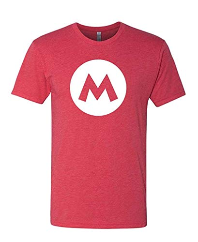 Mario - Video Game Costume Halloween Funny - Mens Cotton T-Shirt L Küsten-video