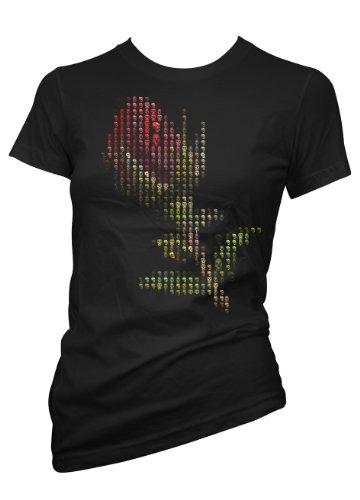 Rock Style Death Metal Rose 701355 donna T-shirt da donna