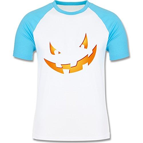 Halloween - Kürbisgesicht klein Pumpkin - zweifarbiges Baseballshirt für Männer Weiß/Türkis